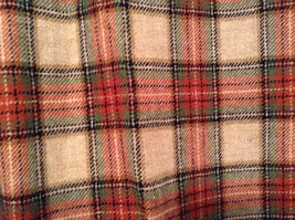 100 Percent Wool Tan Brown Red Dark Green Plaid Pants Richard Oliver No Tag image 3