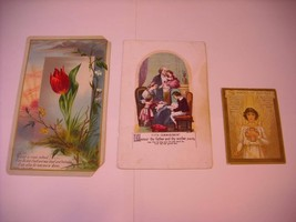 3 Beautifully  Illustrated Prayer Cards ca early 1900s