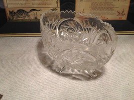 24 Percent Lead Crystal Vintage Crystal Serving Bowl Relief Made in Germany