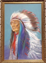 """24"""" x 36"""" Oil on Canvas Indian Chief Painting unknown artist image 2"""