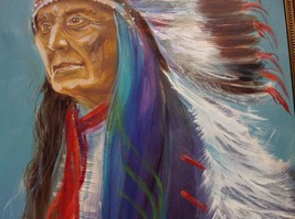 """24"""" x 36"""" Oil on Canvas Indian Chief Painting unknown artist image 5"""