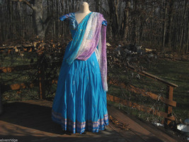 3 Piece Blue, Pink, and Purple Indian Gopi Skirt Set with Scarf