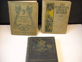 3 Hardcover Educational Books Robinson Crusoe Harmonic Reader Story of Country