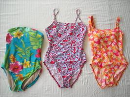 3 Bright Patterned One Piece Designer Bathing suits Lauren Speedo Nautica