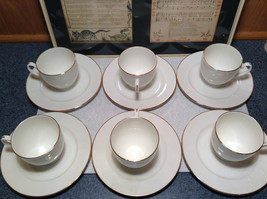 12 Piece Set 6 Cups 6 Saucers Royal Grafton Fine Bone China White with Gold Trim image 2