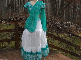 3 Piece White and Green Gopi Skirt Set