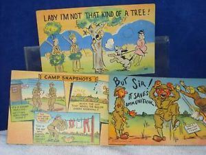 3 Vintage Political Army Comic Post Cards ca 1942