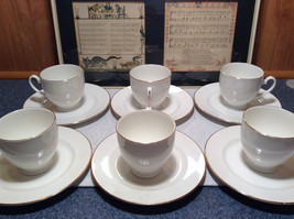 12 Piece Set 6 Cups 6 Saucers Royal Grafton Fine Bone China White with Gold Trim image 3