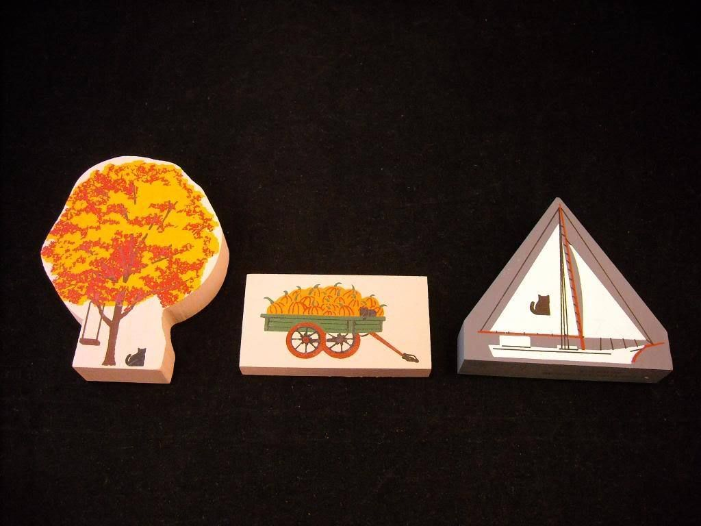 3 Cat's Meow Pieces tree with swing wagon sailboat