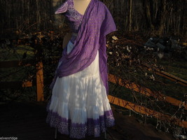 3 Piece Purple and White Indian Gopi Skirt Set with Scarf