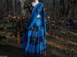 3 Piece Blue and Black Indian Gopi Skirt Set with Scarf