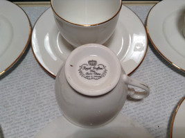 12 Piece Set 6 Cups 6 Saucers Royal Grafton Fine Bone China White with Gold Trim image 6