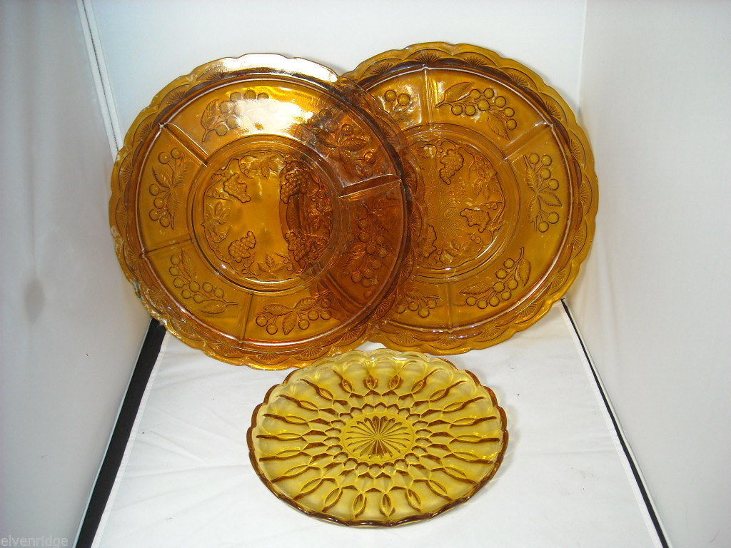 3 Orange Depression Glass serving trays