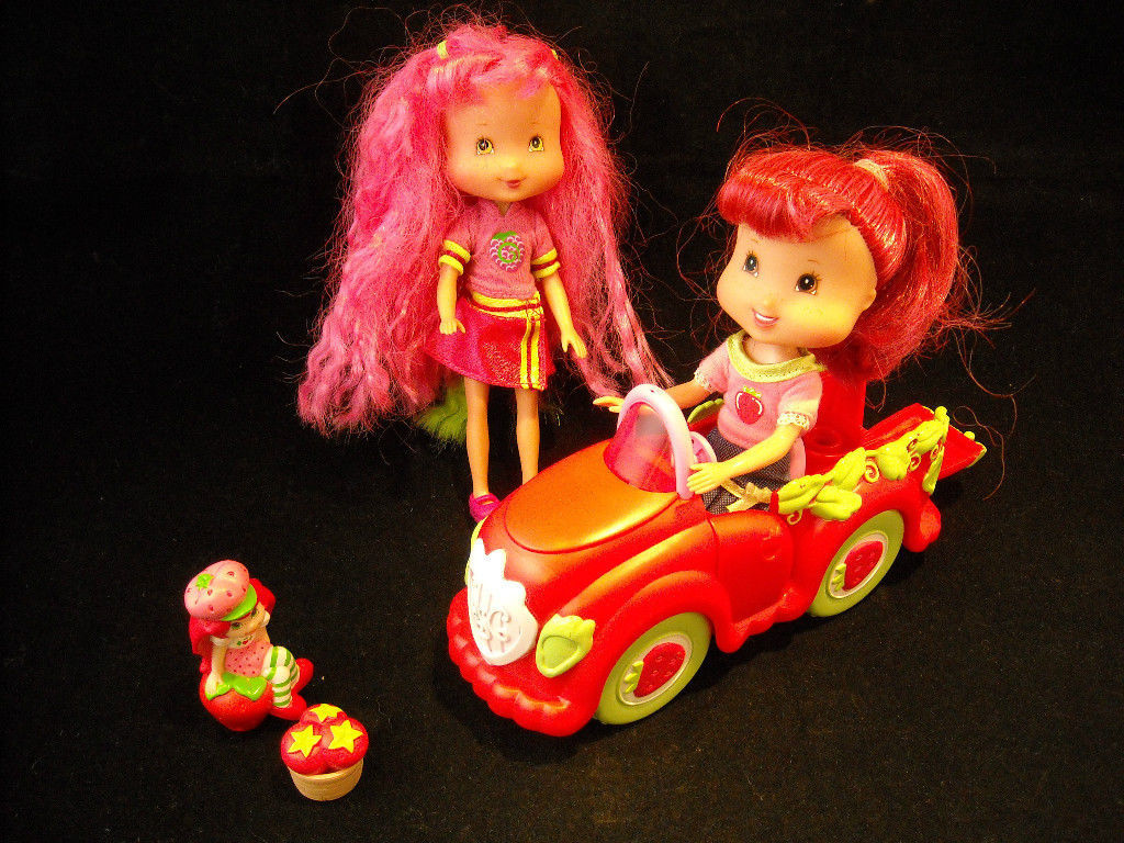 3 Pose-able Strawberry Shortcake dolls, with Car, and Separate Basket Included