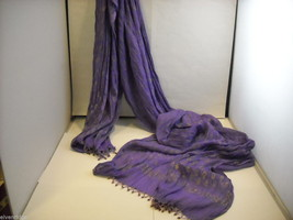 3 Piece Purple and White Indian Gopi Skirt Set with Scarf image 3