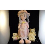 3 stuffed toy doll teddy bear and kitty - $34.64