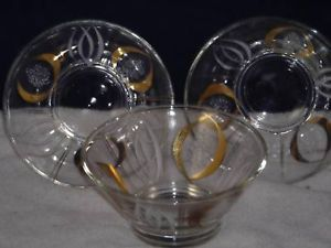 3 matching glass bowls w gold white overlay vintage ca 1950s mad men era