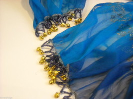 3 Piece Blue and Black Indian Gopi Skirt Set with Scarf image 7