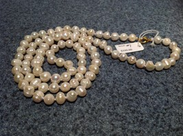 32 Inches Long Hand Knotted Genuine Fresh Water Pearl Bead Necklace