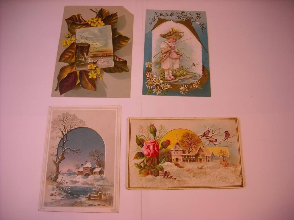4 beautifully Illustrated product ad cards ca early 1900s