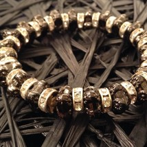 4 steampunk mod industrial glam black silver crystal metal element bracelet #2