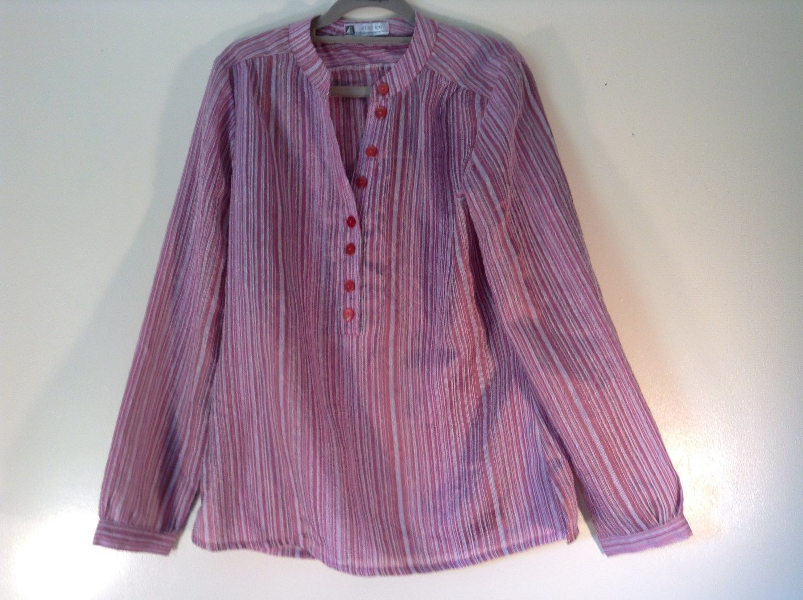 41 Le Loi Long Sleeve Striped Rose Shirt Light Semi Transparent Fabric