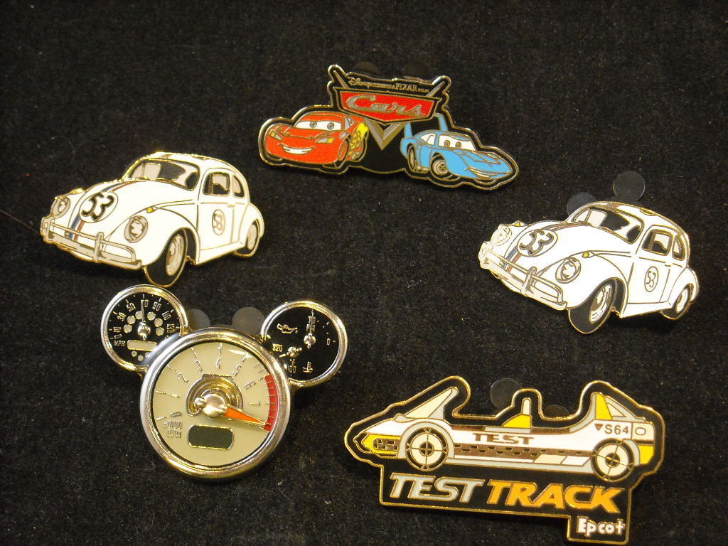 5 Disney Collectible Official Car Trading Pins