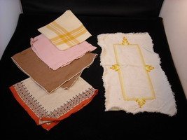 5 Antique Cloth Napkins by Zito and Small Table Runner