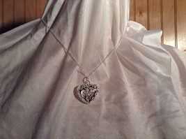 3D Swirl Design Puffy Heart Silver Pendant Necklace Lobster Clasp Closure image 6
