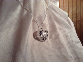 3D Swirl Design Puffy Heart Silver Pendant Necklace Lobster Clasp Closure image 2