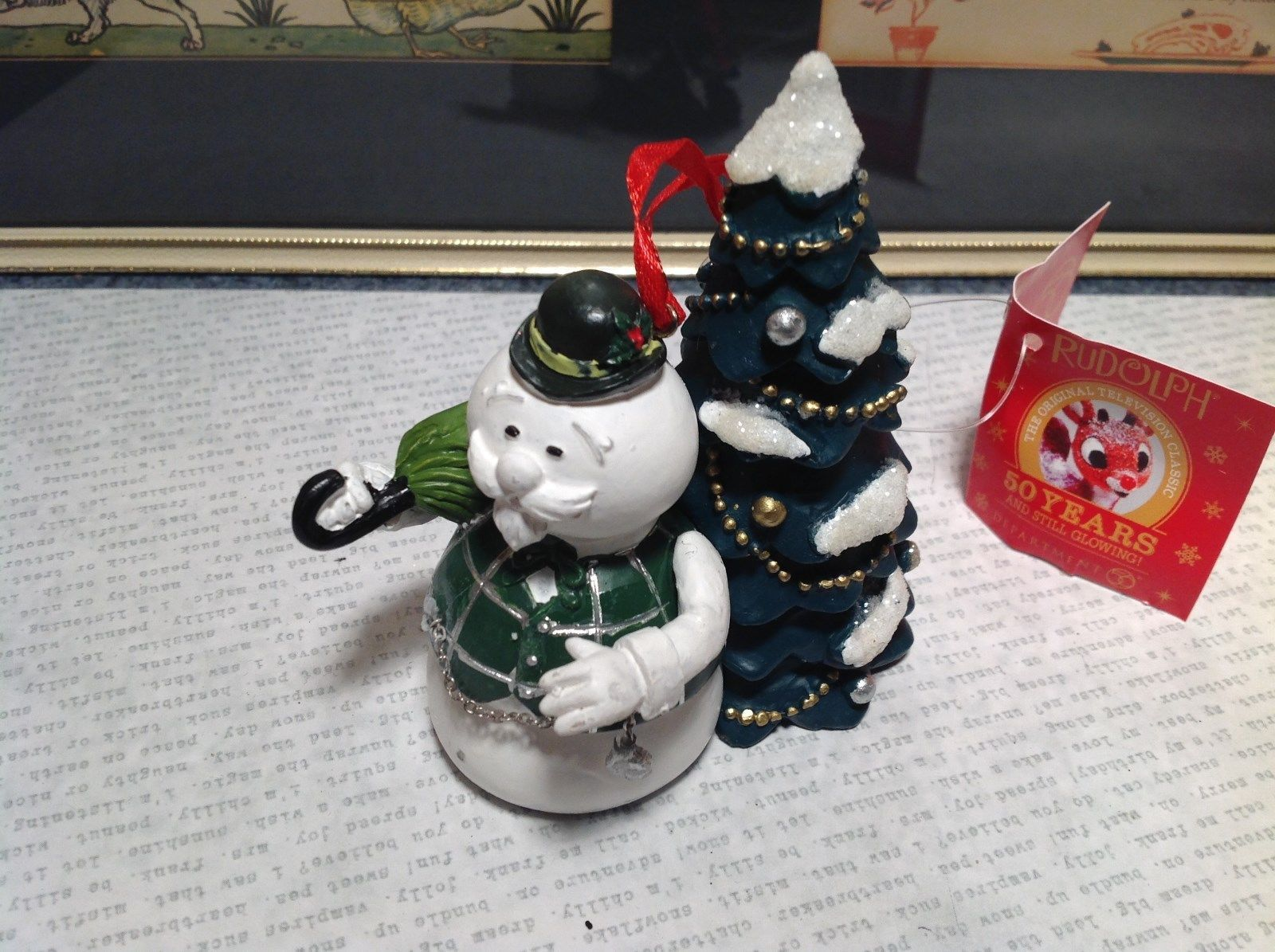 50 Year Anniversary Rudolph Snowman with Tree Christmas Tree Ornament