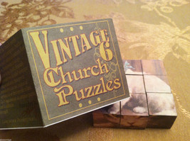6 Sided Cube Vintage Church Puzzle - Cat and Dog Themed