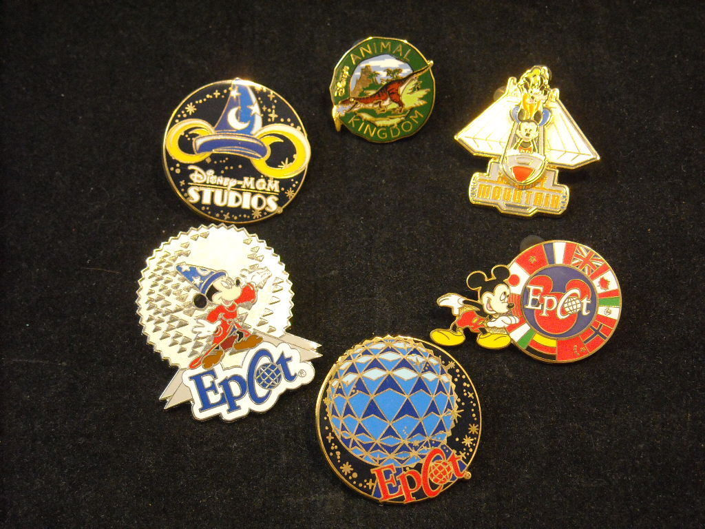 6 Disney Collectible Official Trading Pins from Epcot and other rides