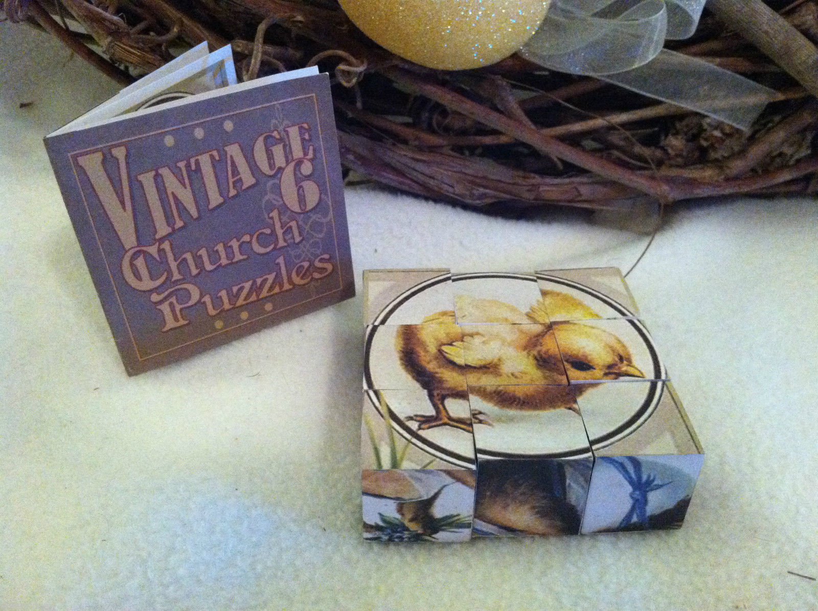 6 Sided Cube Vintage Church Puzzle - Spring chick bunny lamb Themed