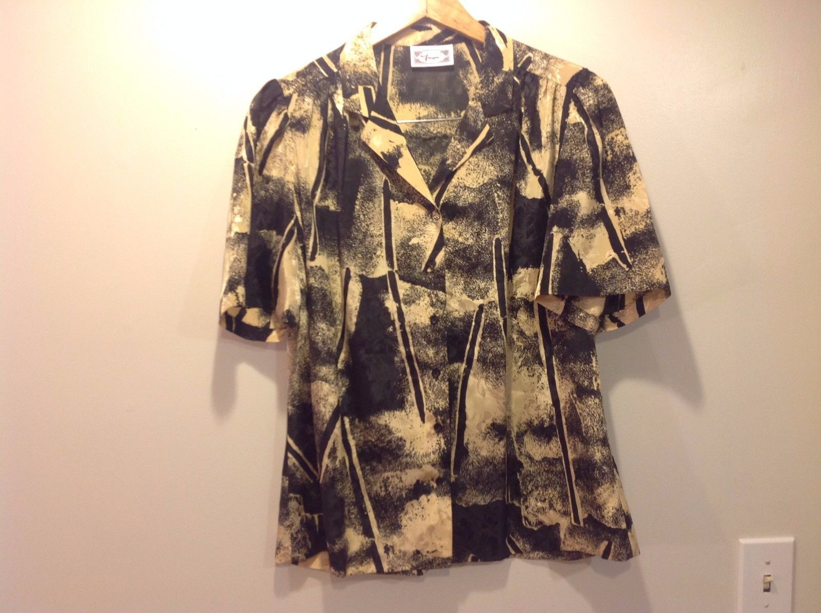 7 Rayne Button Up Shirt Made in USA Caribbean Design Tan Black