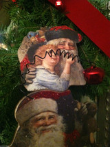 6 Piece Vintage Santa Pictures Christmas Wooden Ornaments with Bells image 8