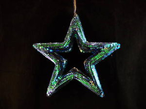 9 inch Peacock blue Sequined Star Ornament  wall decor