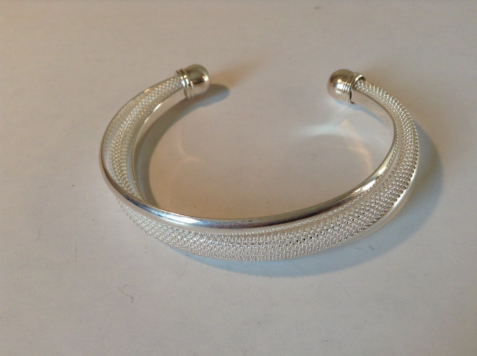 925 Silver Twist Bracelet Adjustable Thick Round Ends