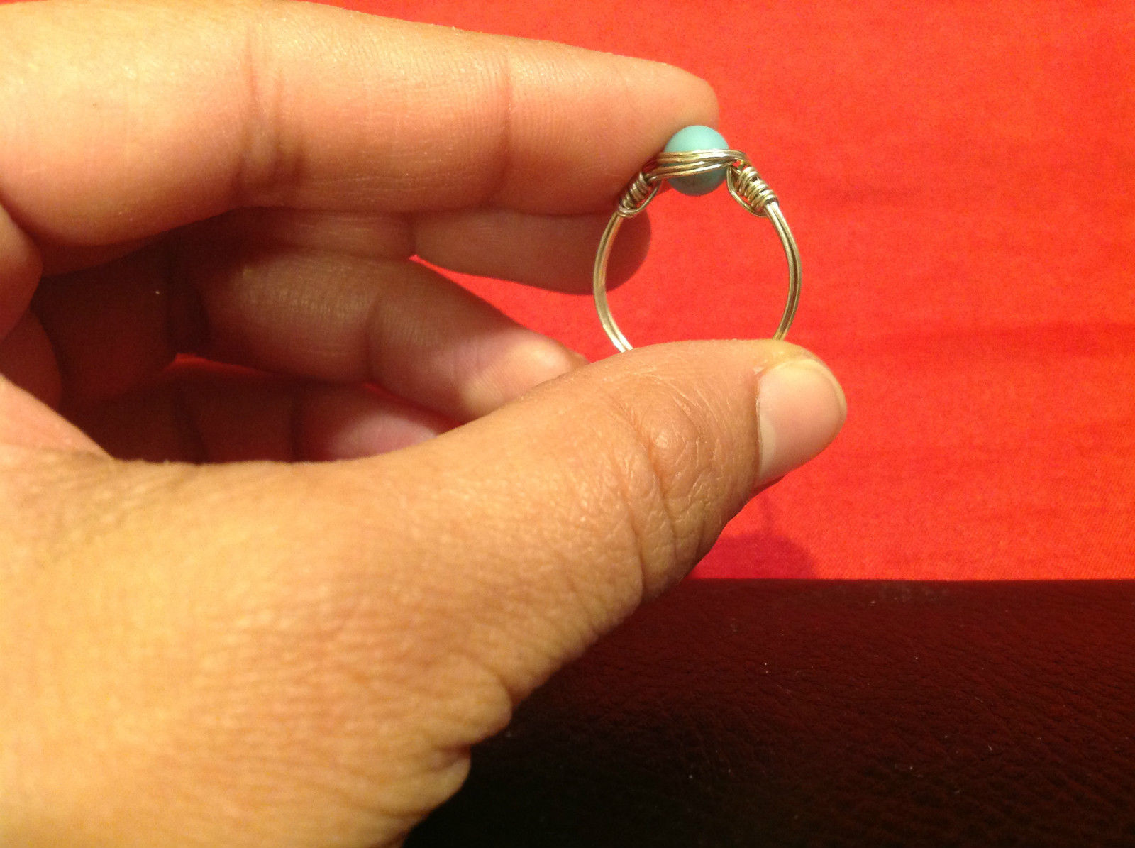 8 ring wrap silver with germanium to prevent tarnish sky light blue silver