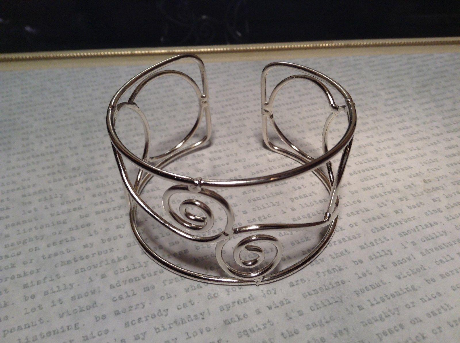 925 Sterling Silver Wire Swirl Handmade Silver Plated Cuff Bracelet