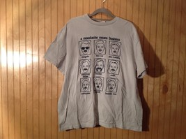 A Moustache Means Business Gray Graphic T Shirt No Size Tag Measurements Below
