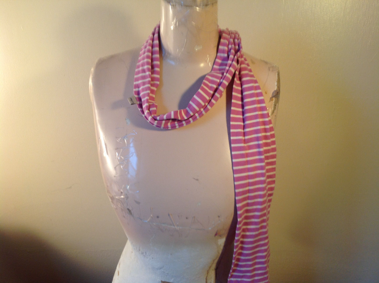 Adorable Striped Light Pink and White L.L. Bean Cloth Scarf 70 Inches Long