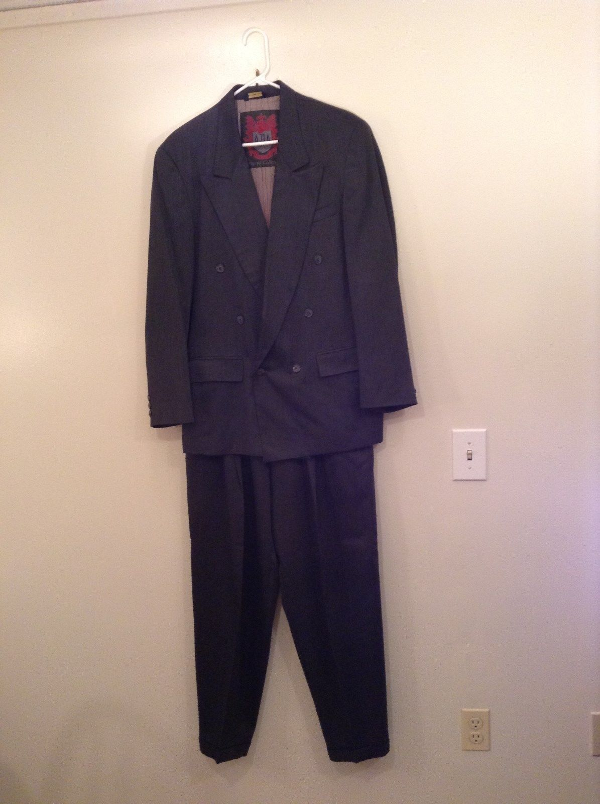 AZIA European Collection Dark Gray Jacket and Pant Suit 100 Percent Wool Size M