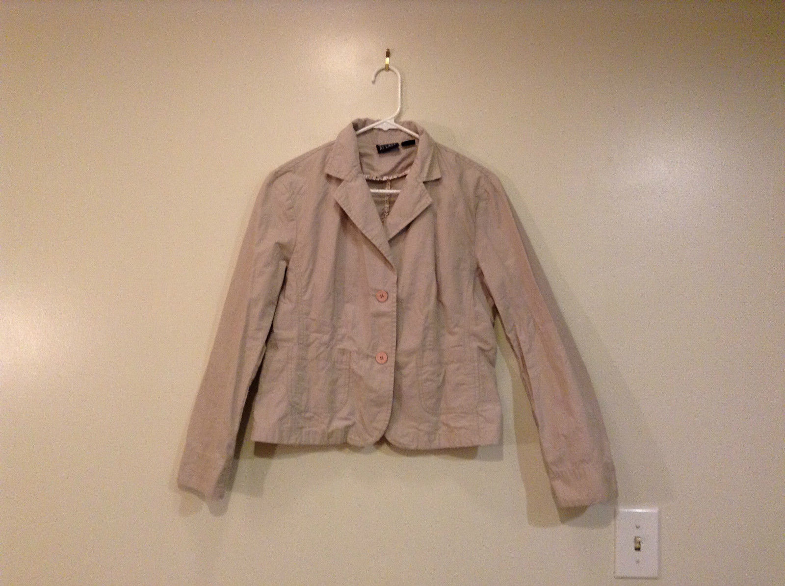AT LAST Light Gray 100 Percent Cotton Unlined Jacket Button Front Size X Large