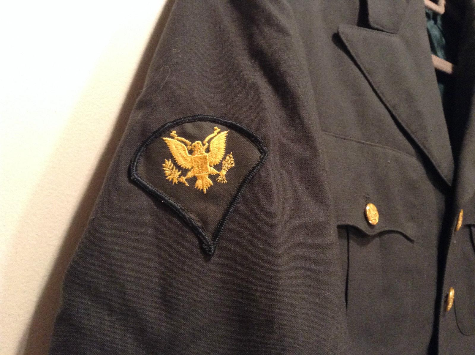 ARMY Uniform Jacket Coat Dark Green Cotton Blend Size 41R  Army Green