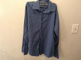 Alfani Blue Long Sleeve Button Up Dress Shirt Size M Wide Stripes French Cuffs