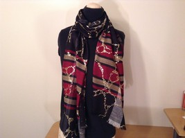Abstract art scarf in plaids and stripes w gold metallic overlay & color choice