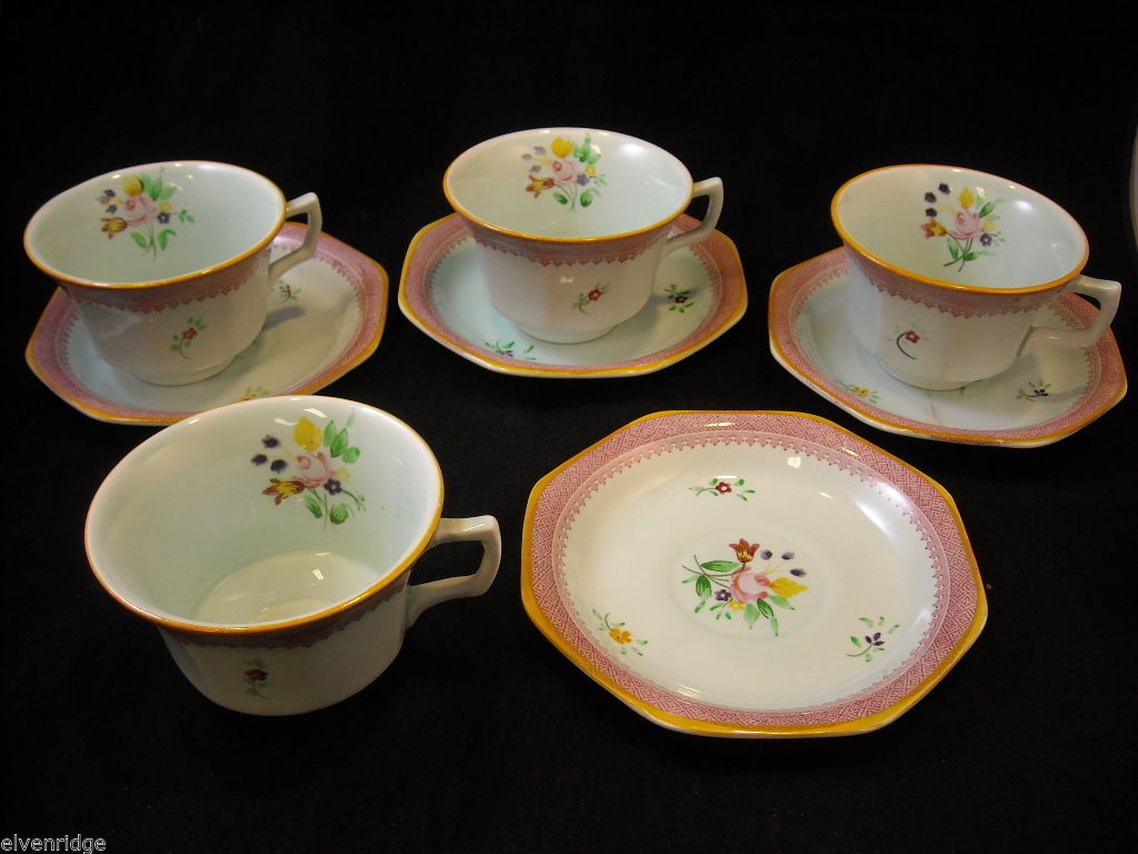 Adams 4 older Lowestoft #2087  tea cups  saucers CalyxWare Ironstone