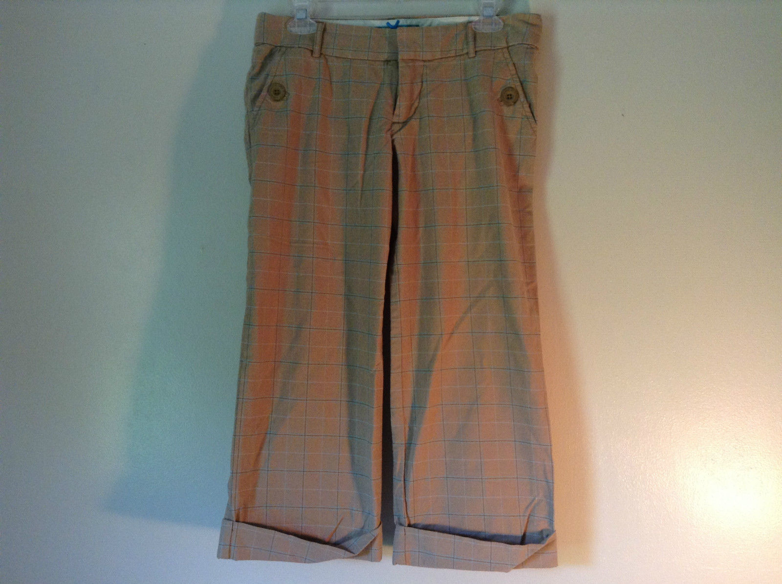 Abercrombie and Fitch Size 6 Stretch Waist Brown Capris with Blue Stripes