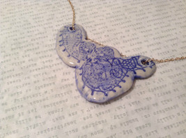Abstract Pattern Conceptual Blue Handmade Ceramic Pendant Necklace